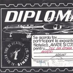 Bnk fil Diploma Expozitia filatelica Sinaia 1987