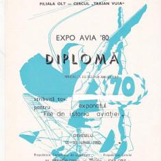 Bnk fil Diploma Expozitia filatelica Expo Avia 80 Deveselu