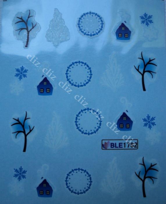 Tatuaj transfer pe baza de apa sticker pentru decorare unghii Craciun BLE 1762 foto mare