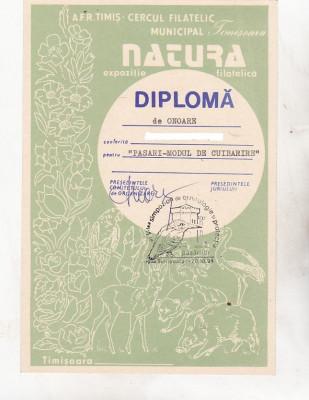 bnk fil Diploma Expozitia filatelica Natura Timisoara 1994 foto
