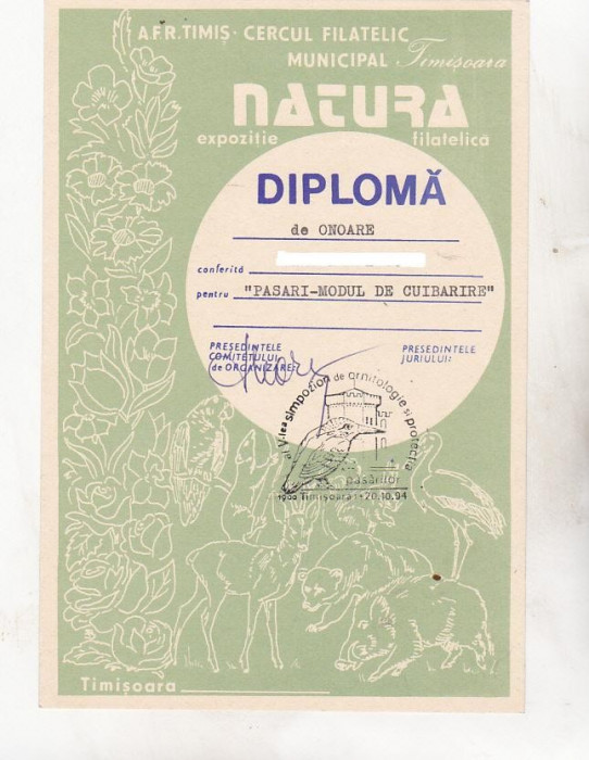 bnk fil Diploma Expozitia filatelica Natura Timisoara 1994