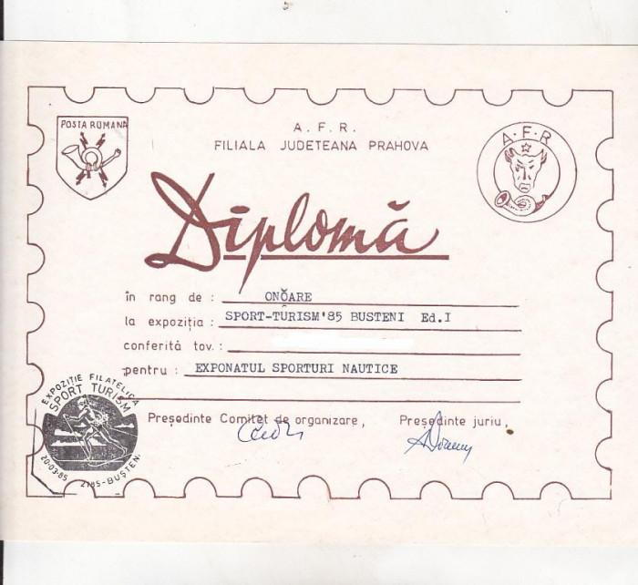 bnk fil Diploma Expozitia filatelica Sport-Turism Busteni 1985 (2) foto mare