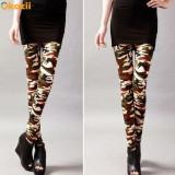 Colanti pantaloni stretch dama stil army camuflaj - Pantaloni dama, Marime: Marime universala, Culoare: Orange, Khaki