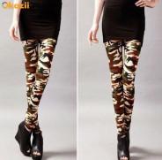 123123Colanti pantaloni stretch dama stil army camuflaj