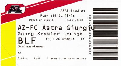 Bilet meci fotbal AZ ALKMAAR - ASTRA GIURGIU 27.08.2015 Europa League foto