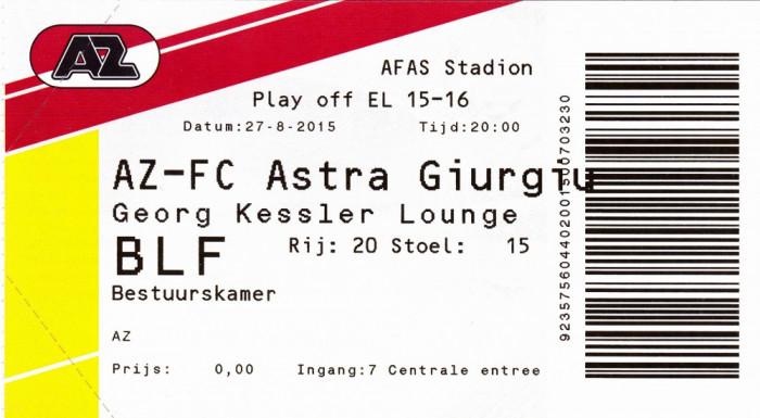 Bilet meci fotbal AZ ALKMAAR - ASTRA GIURGIU 27.08.2015 Europa League foto mare