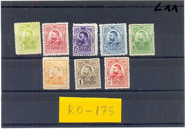 RO-175=ROMANIA 1908=CAROL I GRAVATE-Serie de 8 timbre cu SARNIERA(*)