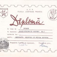 Bnk fil Diploma Expozitia filatelica Sport-Turism `85 Busteni