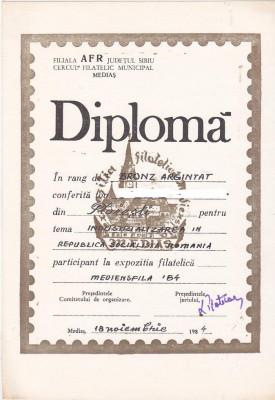 bnk fil Diploma Expozitia filatelica Mediensfila 84 Medias foto
