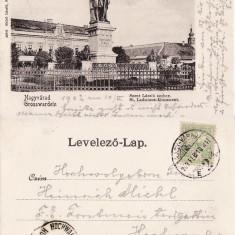Oradea -Statuia Sf. Ladislau- clasica - Carte Postala Crisana pana la 1904, Circulata, Printata