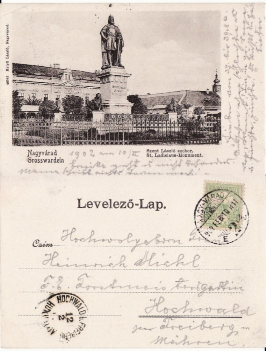 Oradea -Statuia Sf. Ladislau- clasica foto mare