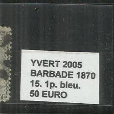 BARBADOS 1870 - 15. 1 P., Stampilat