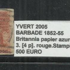 BARBADOS 1852 - 55 BRITANNIA PAPIER AZURE. - 3. [ 4 ]., Stampilat