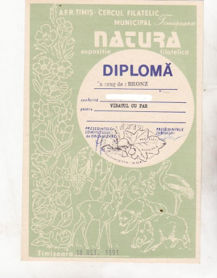 bnk fil Diploma Expo fil  Natura Timisoara 1991 foto