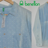 "BENETTON, Camasa de Blug Casual Barbati SLIM FIT ""WASHED Shirt"" Marime XXL - Camasa barbati Benetton, Culoare: Din imagine, Maneca lunga"