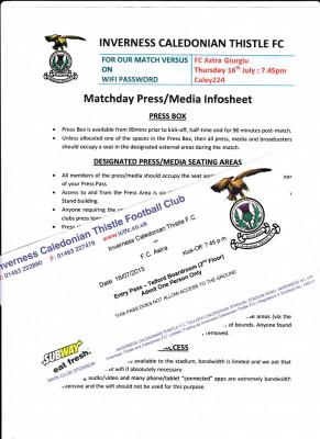Matchday Press si Entry Pass : INVERNESS FC - ASTRA GIURGIU ( Europa League) foto