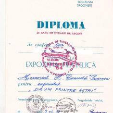 Bnk fil Diploma Expozitia filatelica Aeromfila 84 Pucioasa