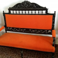 Set mobilier sculptat: Canapea si 2 Fotolii . Lucrat manual, Mobilier unicat., Sufragerii si mobilier salon, 1900 - 1949
