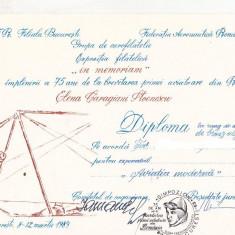 Bnk fil Diploma Expozitia filatelica 75 ani Elena Stoenescu Bucuresti 1989