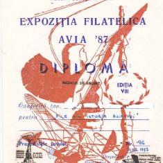 Bnk fil Diploma Expozitia filatelica Avia 87 Caracal