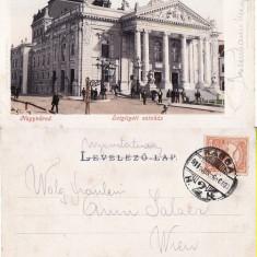 Oradea -Teatrul. Clasica, animata - Carte Postala Crisana pana la 1904, Circulata, Printata