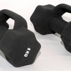 Set de 2 gantere din neopren 2 x 5 kg - cu manere suplimentare -, Greutate (kg): 10