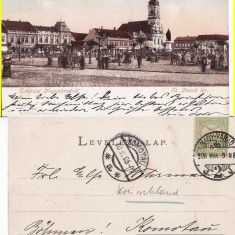 Oradea -piata, clasica - Carte Postala Crisana pana la 1904, Circulata, Printata