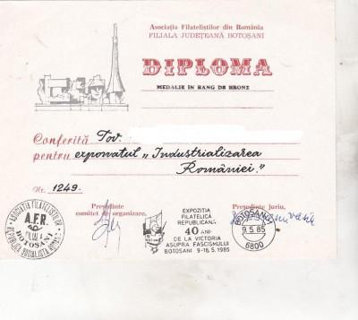 bnk fil Diploma Expo fil republicana 40 ani de la victorie Botosani 1985 foto