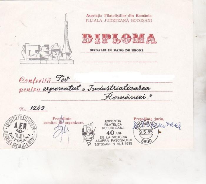 bnk fil Diploma Expo fil republicana 40 ani de la victorie Botosani 1985
