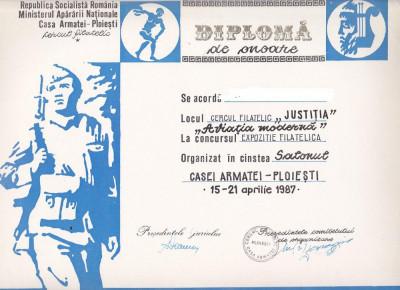bnk fil Diploma Expozitia filatelica Salonul Casei Armatei Ploiesti 1987 foto
