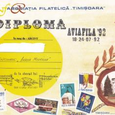 Bnk fil Diploma Expozitia filatelica Aviafila 92 Timisoara