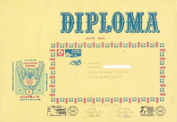 bnk fil Diploma Expozitia filatelica Aviafila 91 Caracal