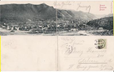 Brasov, Kronstadt  - Vedere generala-diptic (2 cp) - clasica,rara foto
