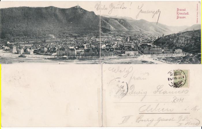 Brasov, Kronstadt  - Vedere generala-diptic (2 cp) - clasica,rara foto mare