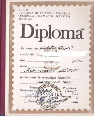 bnk fil Diploma Expozitia filatelica Cosmofila 1982 Medias foto