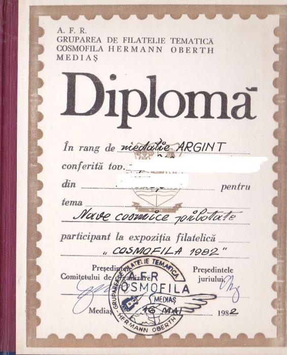 bnk fil Diploma Expozitia filatelica Cosmofila 1982 Medias foto mare