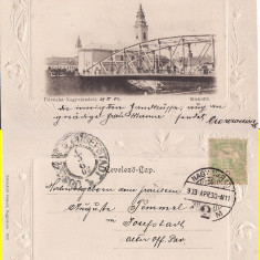 Oradea -Podul, clasica, embosata - Carte Postala Crisana pana la 1904, Circulata, Printata