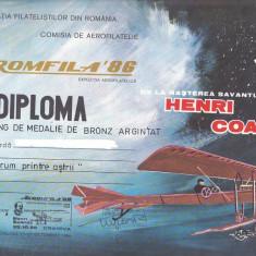 Bnk fil Diploma Expozitia filatelica Aeromfila 86 Craiova