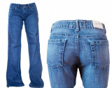 Blugi dama - albastri simpli - FARMS ASK W26,27,28,29,30,31 (Art. F63-F112), 26, Lungi, Albastru