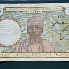 Africa Occidentala 5 Francs 1941 P#25 - bancnota africa