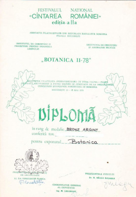 bnk fil Diploma Expozitia filatelica Botanica II - 78 Bucuresti foto
