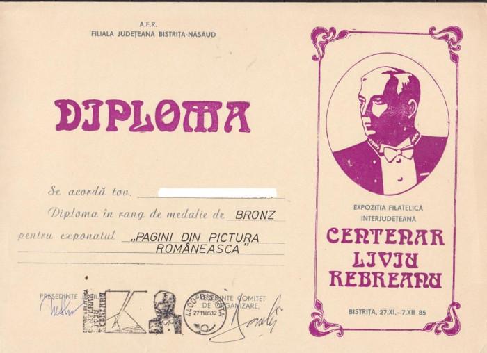 bnk fil Diploma Expozitia filatelica  Centenar L Rebreanu Bistrita 1985 foto mare