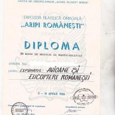 Bnk fil Diploma Expozitia filatelica Aripi romanesti Buzau 1986