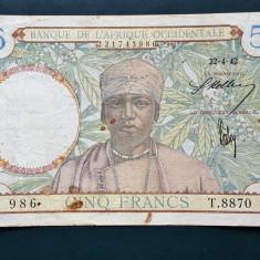 Africa Occidentala 5 Francs 1942 P#25 [1] - bancnota africa