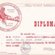 Bnk fil Diploma Expozitia filatelica In memoriam 1980 Bucuresti