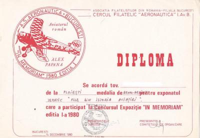 bnk fil Diploma Expozitia filatelica In memoriam 1980 Bucuresti foto