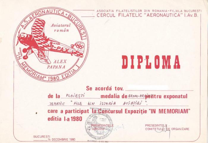 bnk fil Diploma Expozitia filatelica In memoriam 1980 Bucuresti foto mare
