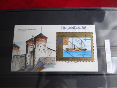 Colita Cuba-Exp Filatelica mondiala Finlanda '88-Colita stampilata 1988 foto