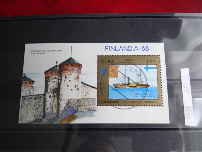 Colita Cuba-Exp Filatelica mondiala Finlanda '88-Colita stampilata 1988 foto mare