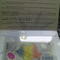 Bancnota 2000 de lei, eclipsa 1999 BNR, necirculata, cu atestat BNR - Bancnota romaneasca